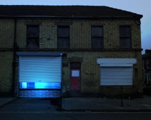 Walter Hugo & Zoniel, The Physical Possibility of Inspiring Imagination in the Mind of Somebody Living, 2014, night-time install shot on site at 53 High Park Road Liverpool, courtesy of the artists.