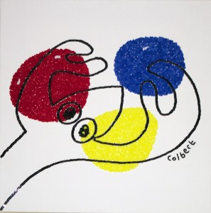 Philip Colbert, Lobster sketch, 2014, sequins on canvas, 32 x 32.5cm