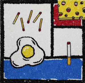 Philip Colbert, After Mondrian, 2014, sequins on canvas, 30.5 x 31cm