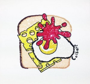 Philip Colbert, Egg on toast ketchup, 2014, sequins on canvas, 34 x 34.5cm