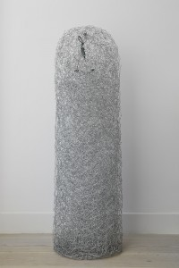 Dong, 2015, steel wire, found object and made object, 142 x 36 cm