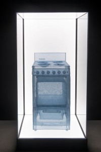 Do Ho Suh, Specimen Series: Stove, Apartment A, 348 West 22nd Street, New York, NY 10011, USA, polyster fabric, stainless steel wire and display case with LED lighting, 187.1 x 92 x 88.4, 2013