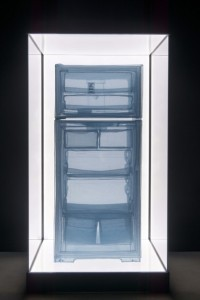 Do Ho Suh, Specimen Series: Refrigerator, Apartment A, 348 West 22nd Street, New York, NY 10011, USA, polyster fabric, stainless steel wire and display case with LED lighting, 212 x 112.8 x 108.7, 2013