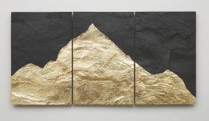 Mont Analogue - Canary, 2015, slate with leaf, 58.9 x 90 cm
