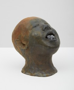 Una testa e un universo senza titolo 4, 2015, bronze, 20 x 20 x 35 cm
