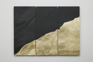 Mont Analogue - London, 2015, slate with gold leaf, 45 x 60.4 cm