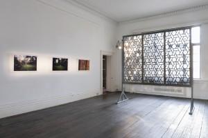 Henry Krokatsis' Leaded Light alongside three photos from Noguchi Rika's Marabu Series