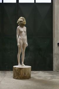 Aron Demetz, Sensa Titolo, 2013, maplewood and silicon, 217 x 68 x 68cm