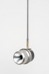 John Wynne - Installation no. 3 for high and low frequencies 2014, sound, subwoofers, aluminium tweeters, stainless steel brackets, sound controller, amps