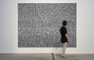 White Noise Oil on canvas, surveillance camera, monitor, 225 x 300 cm, 2012
