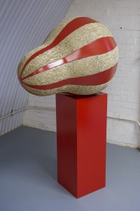Red #3 2013, Aluminium, reeds, colour, 154 x 95 x 75 cm
