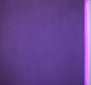 Sul finire dell'occhio viola Acrylic on aluminium, neon, 160 x 150 cm, 2012