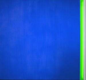Sul finire dell'occhio blue Acrylic on aluminium, neon, 160 x 150 cm, 2012
