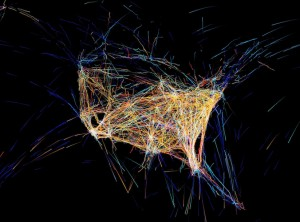 Flight Patterns Animations of flight traffic patterns and density, 2012 courtesy of s[edition]