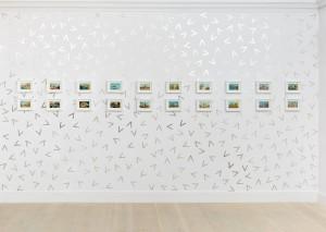 "Holly Stevenson, ""Split"" installation, 2013, aluminium hand-cut angle brackets, 266 x 448cm, Venice Without a Guide, postcards"