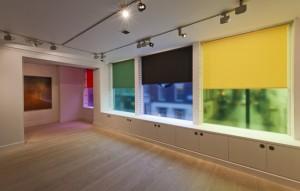 window blinds & translucent printed vinyl, umbrella & ribbons; Variable sizes, 2012