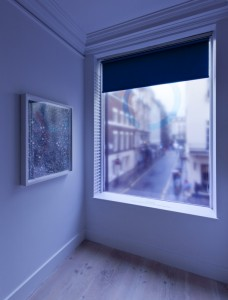 window blinds & translucent printed vinyl, umbrella & ribbons; Variable sizes, 2012