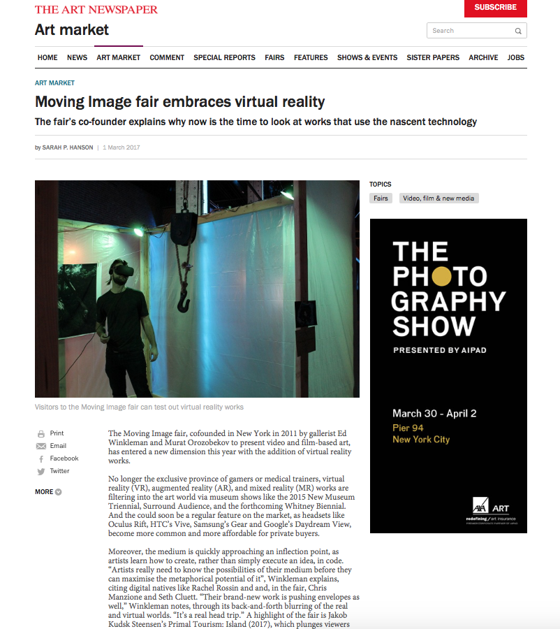VIRTUAL REALITY | THE ART NEWSPAPER | MARCH 2017