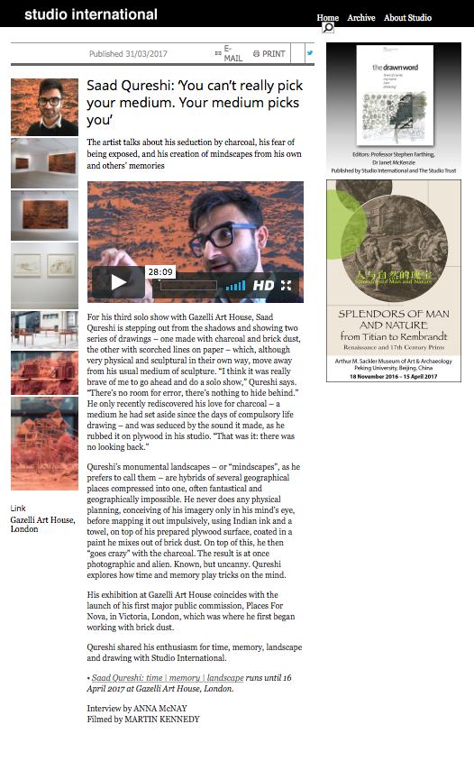 SAAD QURESHI | STUDIO INTERNATIONAL | MARCH 2017