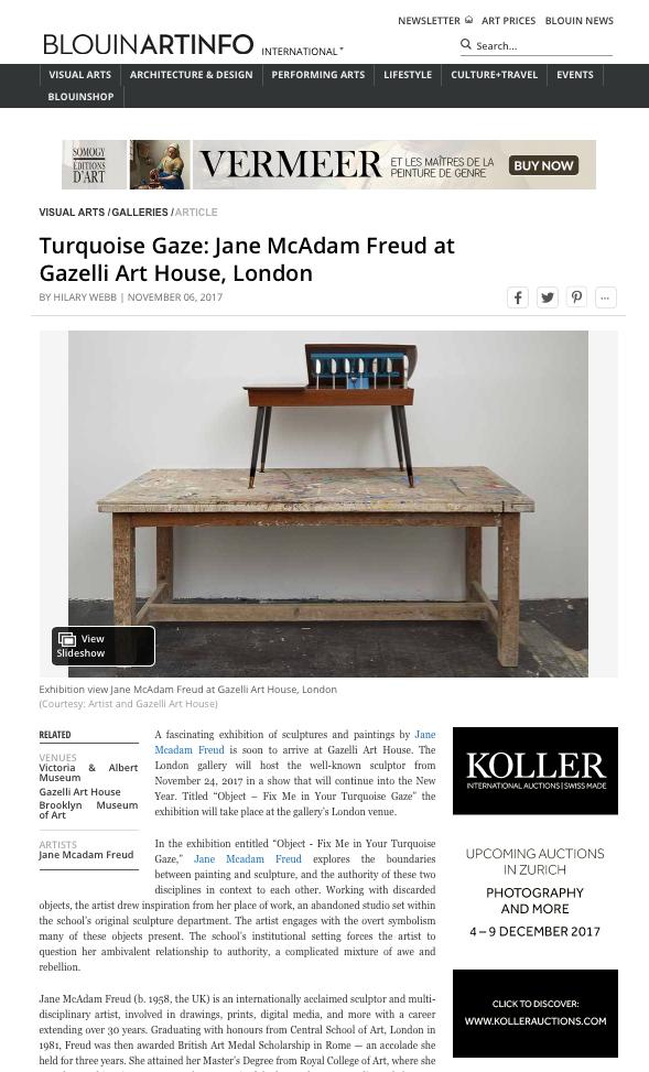 JANE MCADAM FREUD | BLOUIN ARTINFO | NOVEMBER 2017