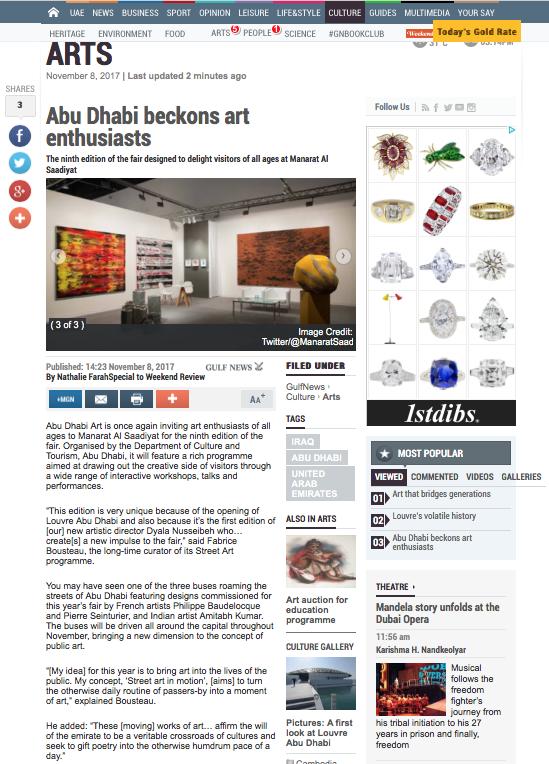 ABU DHABI ART | GULF NEWS | NOVEMBER 2017