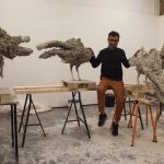 Saad Qureshi in studio with clay birds for Assembly - Photo © Wendy Aldiss