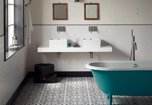 Blue floor tiles for bathroom