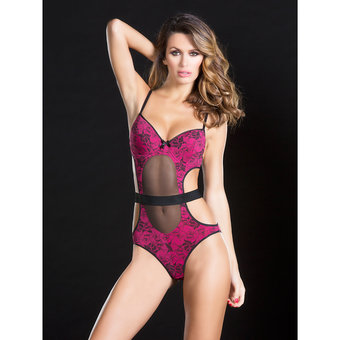 Oh La La Cheri Sheer Lace Teddy with Cut Outs