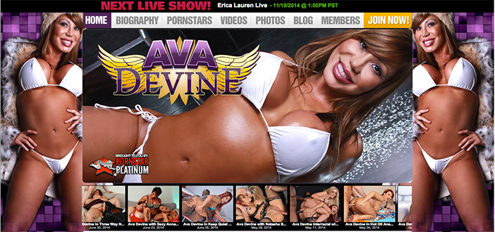 Porn star Ava Devine website