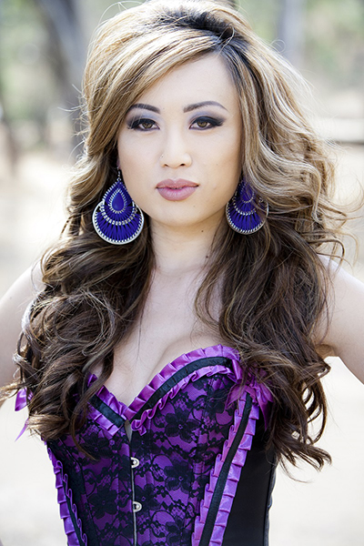 Transsexual star Venus Lux in purple basque
