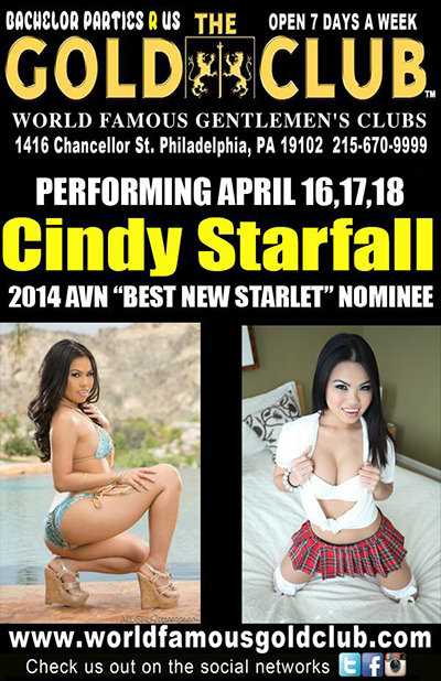 Cindy Starfall headlines Philadelphia's Gold Club