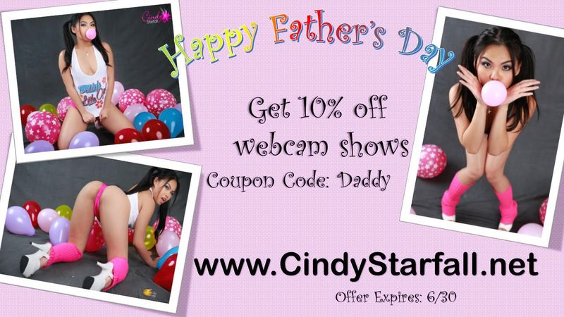 CINDY STARFALL Extends Father's Day Webcam Discount
