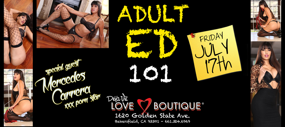Mercedes Carrera  visits Déjà Vu Love Boutique Bakersfield
