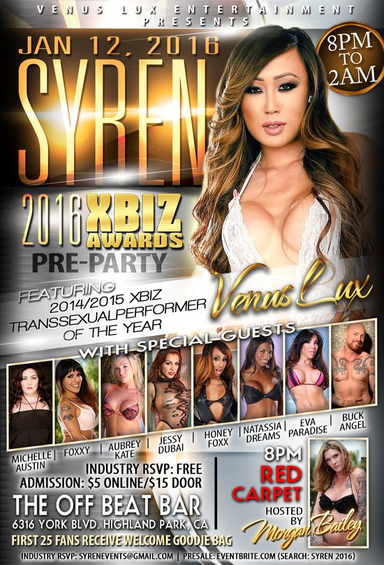 porn star Venus Lux, XBIZ Awards pre-party, Syren, Venus Lux Entertainment, Pornstar, XBIZ Awards, Pre-Party, Michelle Austin, Foxxy, Aubrey Kate, Jessy Dubai, Honey Foxx, Natassia Dreams, Eva Paradise, Buck Angel, Morgan Bailey, Trans Porn: Growing Out of the Shadows