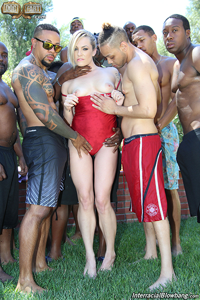 Dahlia Sky Titillates In Her First Ever Scene For InterracialBlowbang.com