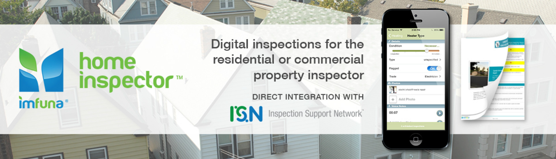 Imfuna Hone Inspector software for mobile property reports