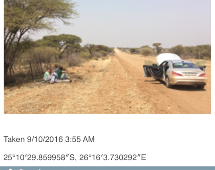 Screenshot of Imfuna app showing stranded travelers in the African wilderness, but also showing their geographical coordinates which eventually led rescuers to them