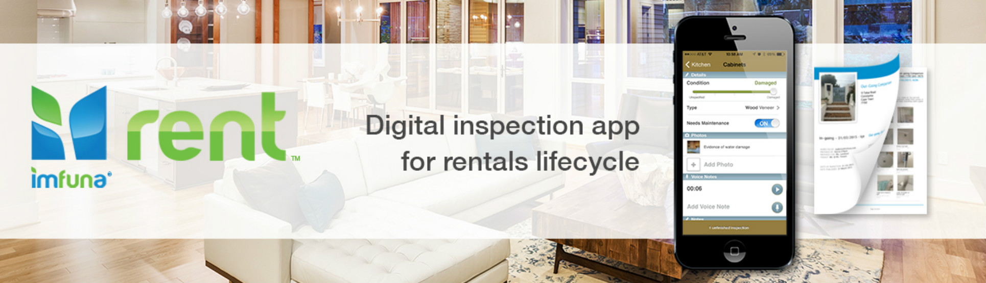 Imfuna Rent is a mobile property inspection app and software for digital property management rentals