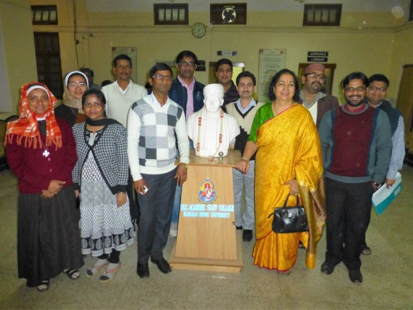With the statue of the founder of BHU, the Respected Shri Madan Mohan Malviya ji.