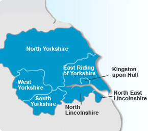 Yorkshire and the Humber map