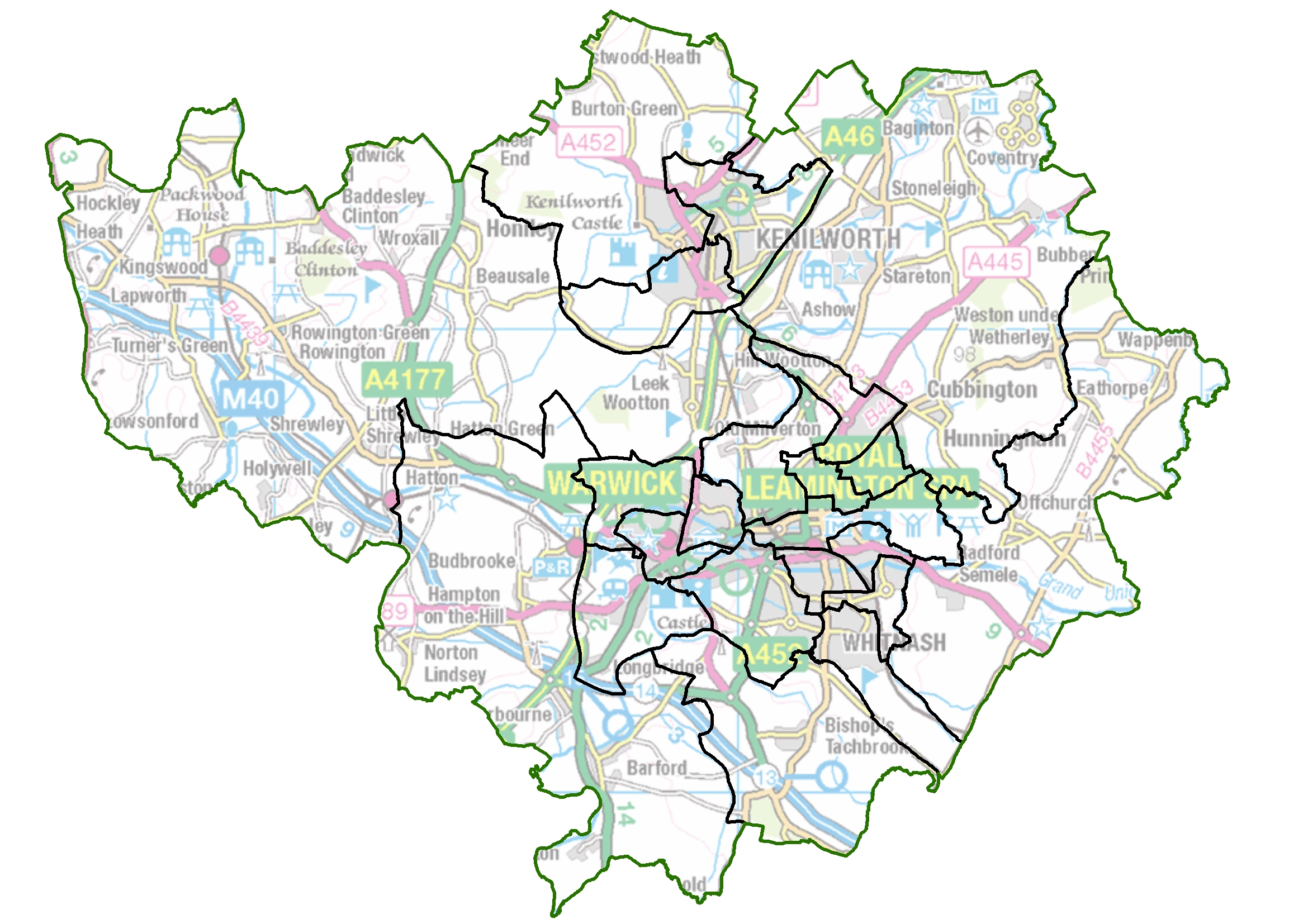 Map of current Warwick Dictrict Council ward boundaries