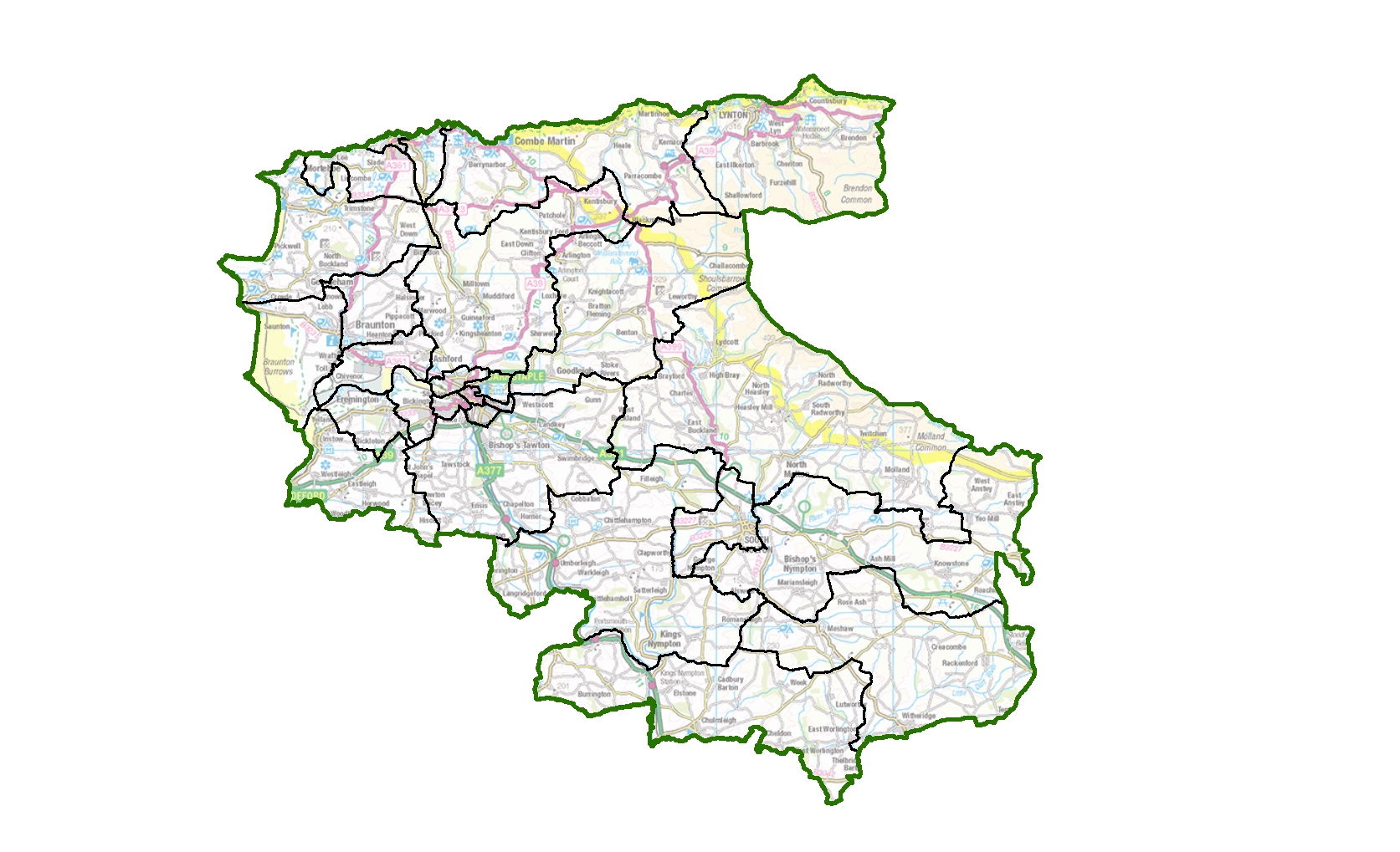 Council ward boundaries in North Devon are set to change. Find and use this image of the current wards at: