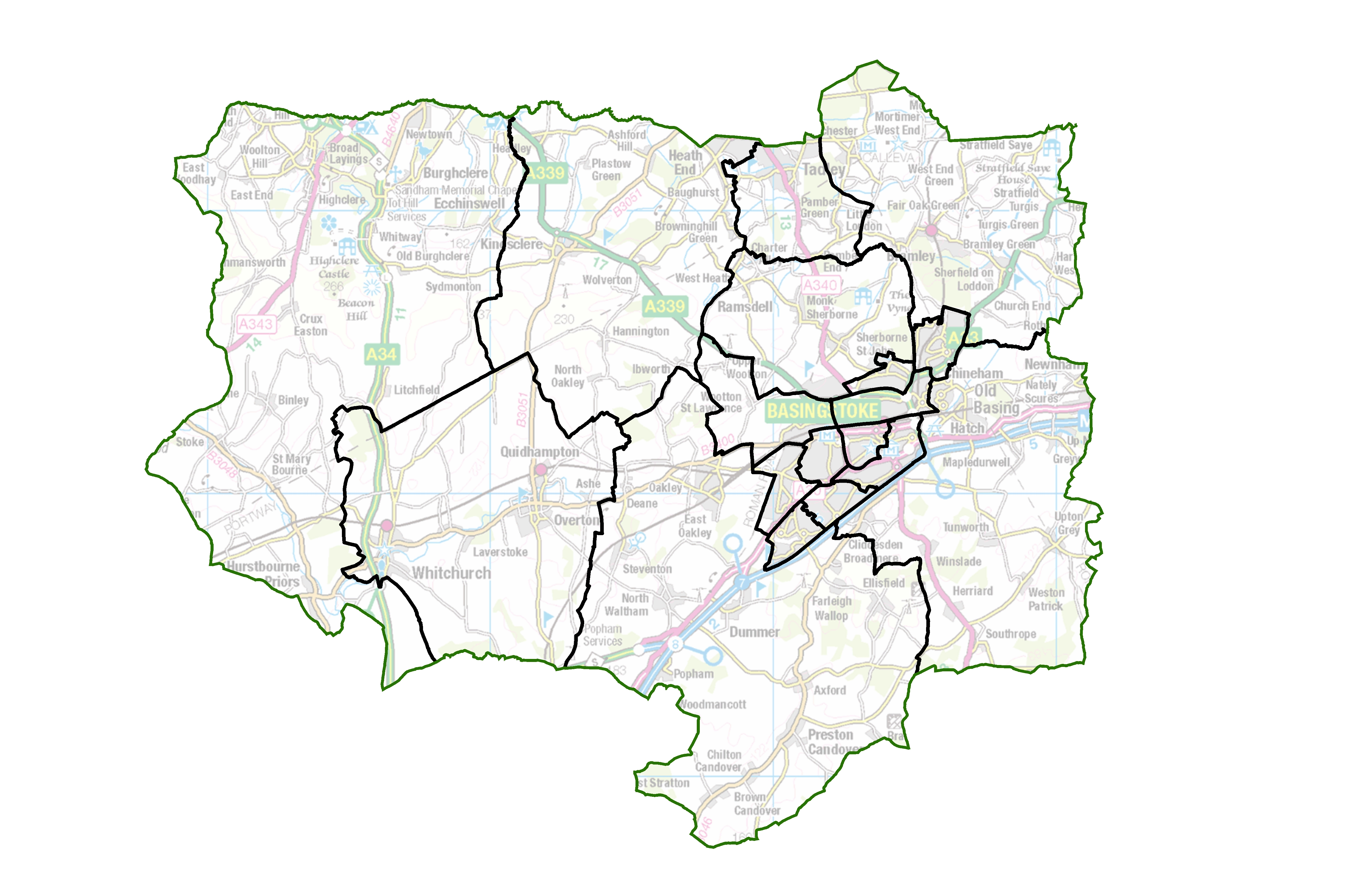 Final recommendations map for Basingstoke and Deane Borough Council