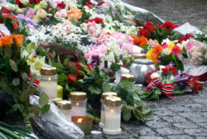 Memorial for the dead outside Oslo Cathedral