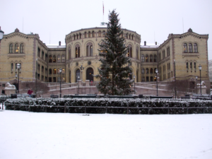 Oslo Parliament in December