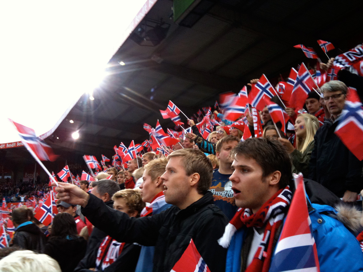 Norwegian football fans at the Ullevaal Stadium
