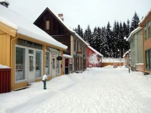 Historic Norwegian street at Lillehammer open-air museum