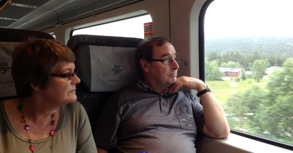 Mum and Dad enjoying the Bergen line