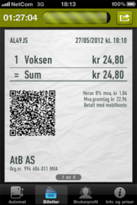 iPhone ticket for the bus in Trondheim