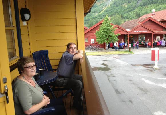 Mum and Dad enjoying the balcony